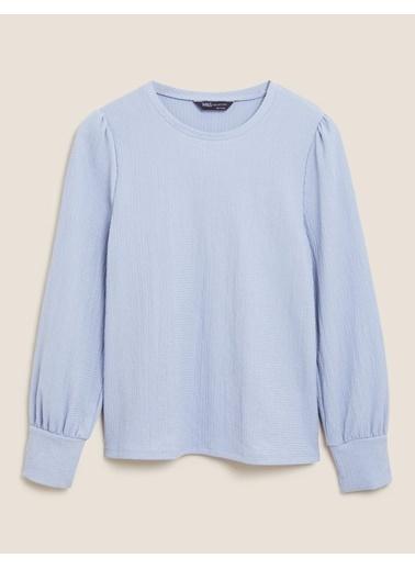 Marks & Spencer Yuvarlak Yaka Bluz Mavi